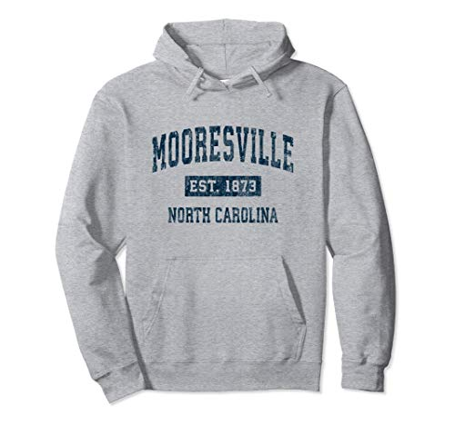 Mooresville North Carolina NC Vintage Sports Design Navy Pullover Hoodie