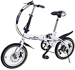 Riscko - Bicicleta Plegable Urbana   Cambios Shimano   Super Bike Unisex   Modelo bep-32   Adulto de 16'' Color: Blanco
