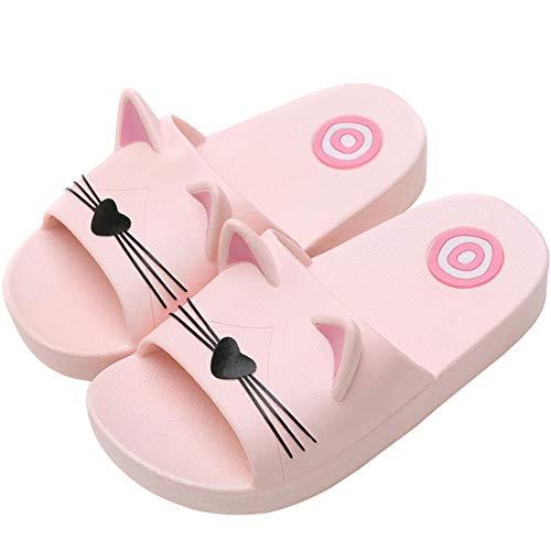 Acfoda  Katze Hausschuhe Kinder Mädchen Badelatschen Kuschelig Home Pantoffeln Cartoon Schlappen Sommer Badeschuhe, 23/24 EU, Kinder Pink