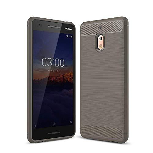 Lapinette Coque Compatible avec Nokia 2.1 Fibre de Carbone - Coque Nokia 2.1 Protection Souple Flexible - Coque Carbone Nokia 2.1 Housse Premium Gris