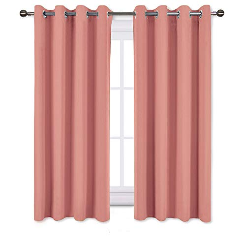 NICETOWN Insulated Room Darkening Curtains for Nursery - Microfiber Energy Saving Thermal Insulated Solid Grommet Room Darkening Draperies for Kitchen (Coral Salmon, 1 Pair, 52 inches by 54 Inch)