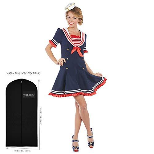 WOOOOZY Damen-Kostüm Sexy Matrosin Kleid, Gr. 44 - inklusive praktischem Kleidersack