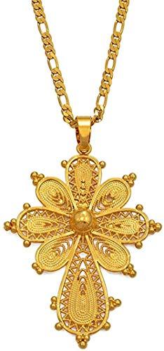 MGBDXG Co.,Ltd Collar de Cadena con Colgante de Cruz etíope, Collares para Mujer, niña, Color Dorado, joyería de Eritrea, Cruces africanas, Regalos