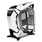 JF-TVQJ Computer Case E-ATX Full-Tower PC Gaming Case Semi-Open Computer Tower Case, Tempered Glass Side Panel, Water-Cooling Ready USB 3.02 PC Case for Games and Work