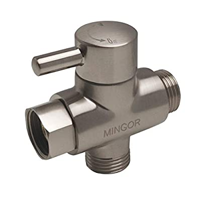 Shower Arm Diverter Valve for Hand Held Showerhead and Fixed Spray Head,G 1/2 3-Way Bathroom Universal Shower System Replacement Part/Brass (Brushed Nickel)