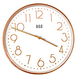 hito Silent Non Ticking Wall Clock Glass Front Cover Accurate Sweep Movement 14 inch Large Oversized Decorative for Kitchen, Living Room, Bedroom, Office, Classroom (Rose Gold)