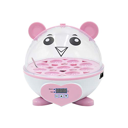 PAIDUOJI Home Use 9 Eier Inkubator Automatische Temperaturregelung Digitale Mini-Eierbrut Automatische Temperaturregelung Brut für Hühner, Enten, Vögel (HT-9eggs-pink)