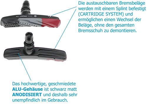 P4B Cartridge Bremsschuhe für V-Brake, Belag 3-farbig im Air-Flow-Design, 2 Paar = 4 Stück, Gehäuse-Farbe = schwarz matt - 5