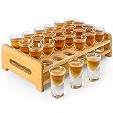 Schnapsglas-Set, 24 Stück, 15 ml, Schnapsglas-Halter, dicker Boden, klares Glas für Party, Club, Bar, Spirituosen – MJ-24–15 (15 ml, 24 Stück)
