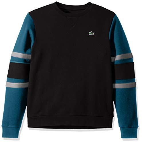 Lacoste Mens Sport Long Sleeve Color Block Crewneck Sweatshirt Sweatshirt, Black/Illumination/Silver Heathered/Black, L