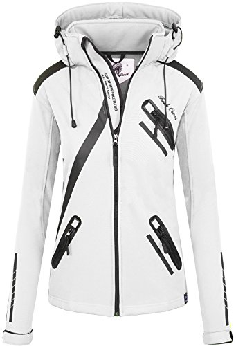 Rock Creek Damen Softshell Jacke Übergangs Jacke Windbreaker Regenjacke Damenjacken Outdoorjacke Windjacke D-371 Weiß XL