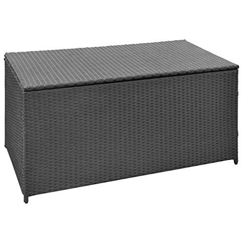 vidaXL Aufbewahrungsbox Poly Rattan Schwarz Auflagenbox Gartentruhe Kissenbox