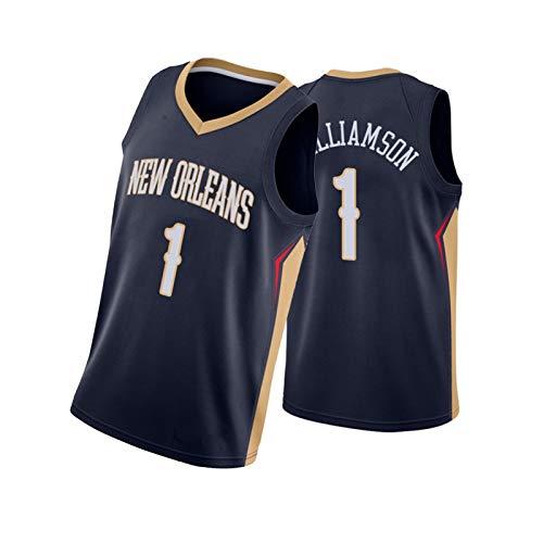 Pelícanos # 1 Williamson Sports Basketball Jersey, Nueva Temporada de Baloncesto, cómodo, Ligero y ágil, Adecuado para Todo Tipo de Deportes Dark Blue-S