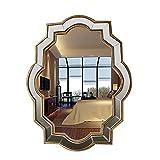 HLWJXS Espejo de baño montado en la pared Espejo de maquillaje Espejo chino para colgar en la pared Espejo moderno de vidrio Espejo decorativo Espejo artístico de diseñador,Oro