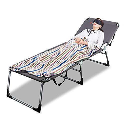 QQXX ligstoel met kussen, inklapbaar camping-logeerbed, verstelbare rugleuning, ligstoel, ligstoel, gewichtloos, belastbaar tot 200 kg