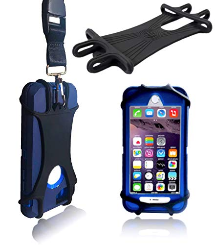 AH Universal Heavy Duty Cell Phone Carrying Lanyard Leash Neck Strap Tether Holder Quick Release Buckle Smart Cell Phone Credit Card Holder Case for iPhone, Galaxy & Most Smartphone (Center Rear Cam)