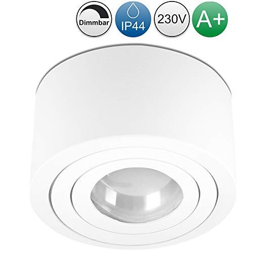 lambado® Flache LED Aufbaustrahler IP44/Deckenstrahler inkl. 230V 5W Spots dimmbar - Wasserschutz für Bad & Außen - runde Aufbauleuchte für Feuchtraum in weiss