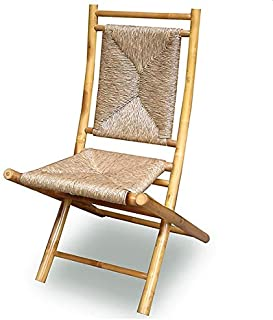 Heather Ann Creations Bamboo Folding Chairs with Triangle Weave, Pack of 2, Natural