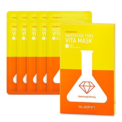 suiskin 10 x doekmasker uit Korea voor een stralende teint met extra vitaminen, met 11 Zwitserse kruiden en berkenwater - speciale grootte: een masker gratis