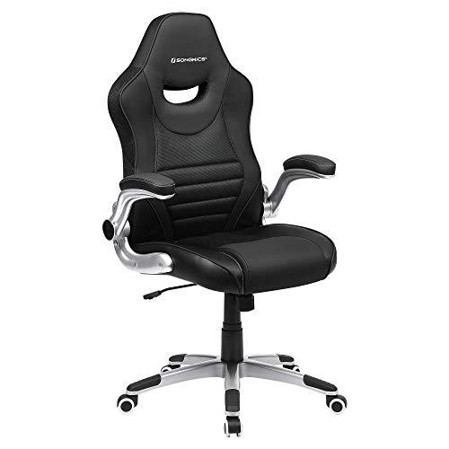 SONGMICS Bürostuhl, ergonomischer Drehstuhl, Gamingstuhl mit hochklappbaren Armlehnen, Computerstuhl, Nylon-Sternfuß, max. statische Belastbarkeit 150 kg, fürs Büro, schwarz OBG63BK