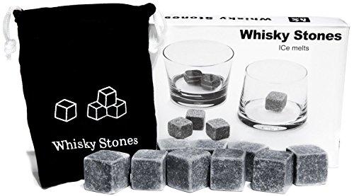 """9er SET Whisky-Steine aus natürlichem Speckstein für Getränke """"on the rocks"""", Kühlsteine im praktischen Stoffbeutel [ARTUROLUDWIG]"""