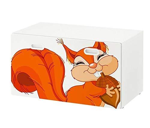 Möbelaufkleber für Ikea STUVA FRITIDS Bank mit Kasten Kinderzimmer Cartoon Eichhörnchen Kat2 orange Tier Nuss Eichel STF1 Aufkleber Möbelfolie Folie (Ohne Möbel) 25O2568