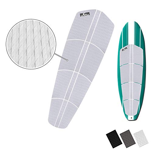 Own the Wave 12pc Grip Pad for All Boards - Customizable Traction Pad for Surfboard, Longboard, SUP Board, Skimboard - Stickiest 3mm Adhesive Comfort for Your Feet - with Wax Comb (White)