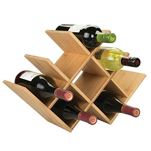 mDesign Estante para Botellas de Vino - Botelleros de Madera para Vino u Otras Bebidas - Vinoteca de Madera para 8 Botellas - Color Natural