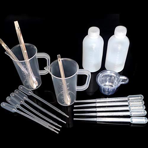 YuChiSX Copas Graduadas de Plástico con Herramientas,Vasos de Mezcla Reutilizables de Graduada Graduados de Plástico para Mezclar Pintura, Manchas, Epoxi, Resina