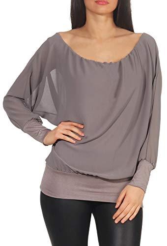malito dames chiffon blouse met lange mouwen | Tuniek met wijde mouwen | Blouse shirt met breed boord | elegant - schick 6291