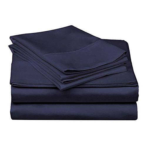 PC Diana Lin 100% Coton Drap de lit Ensemble – 400 Fils Satin tissé – Naturel, Doux, 35 cm de Profondeur de Linge de lit Luxueux de qualité – 4 pièces de Poche (Bleu Marine Solide Euro Unique IKEA)