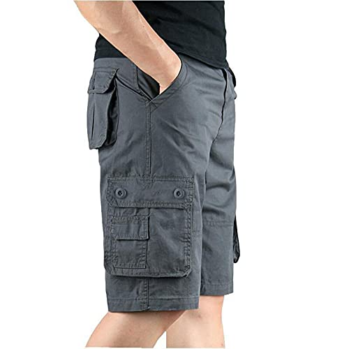 Zilosconcy Pantalones Cortos Hombre Deporte Puro Algodon Casual Shorts con Bolsillos Shorts Cargo Pantalones Holgados de Cinco Puntos Casual Hogar Viaje Vacaciones