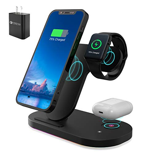 Wireless Charger, 3 in 1 Charging Station for iPhone Apple Watch Airpods, Fast Qi Charger Stand for iWatch SE 6 5 4 3 2 1 iPhone 12/11 Series/XS MAX/XR/XS/X/8/8 Plus