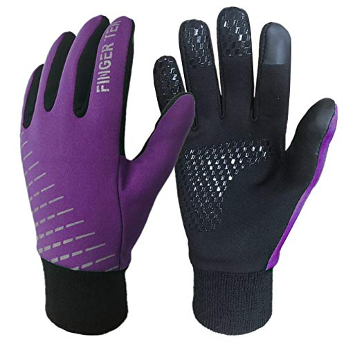 Kids Cycling Gloves Winter Full Finger Warm Touchscreen Running, Boys Girls Glove Grip Liner Thermal for School Sport Windproof Snow Waterproof Anti-Slip Color Blue Purple Green Aged 5-12 (Purple, M)