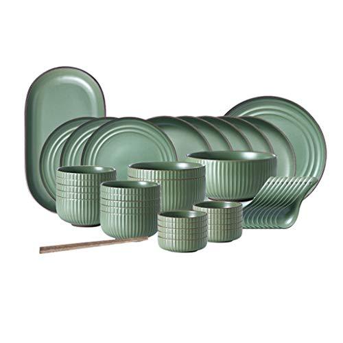 NXYJD Platos de cerámica Set Los Platos para el hogar, la combinación de vajillas y Palillos, diseño Moderno y Simple.