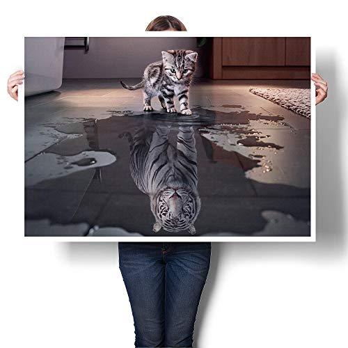 Wandbild Katze Reflexion Tiger dekorative Malerei Kunst Leinwand Wandbild 50 (cm) X75 (cm)