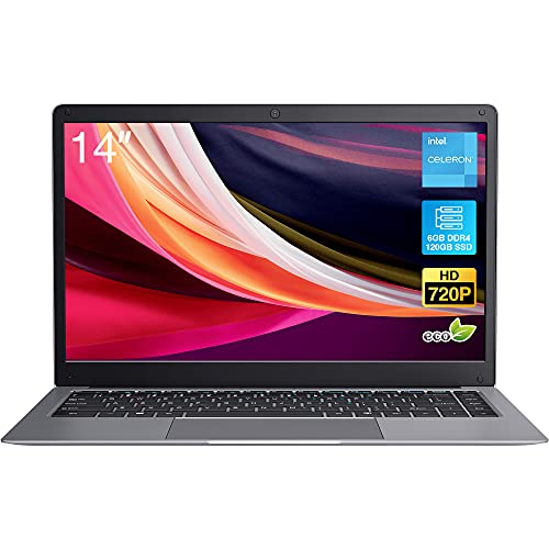 Windows 10 Pro Laptop, BiTECOOL 2021 New 14 inches HD Clear Display Pc Laptops, with Intel Celeron Dual Core, 6GB LPDDR4, 2.4G WiFi, BT4.0 and Long Lasting Battery, Mic (120GB SSD, J4005)