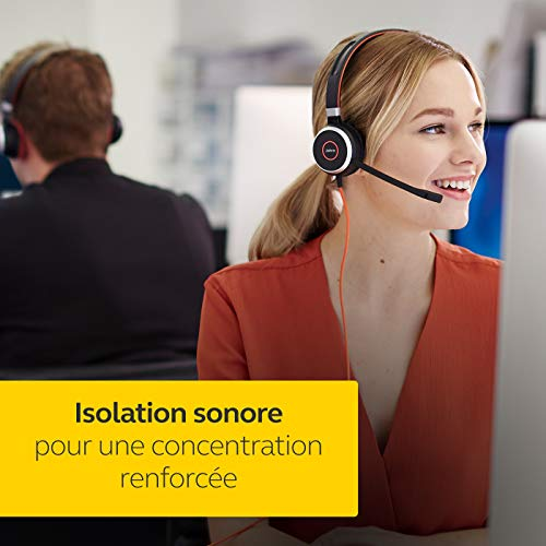Jabra Evolve 40 UC Stereo Headset - Casque audio Unified Communications pour VoIP Softphone avec...