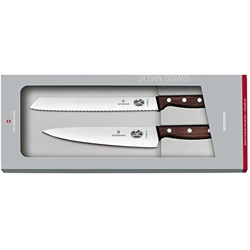Victorinox Rosewood Küchenmesser-Set, 2-tlg., mit Holzgriff, Brotmesser Wellenschliff, Tranchiermesser gerader Schliff