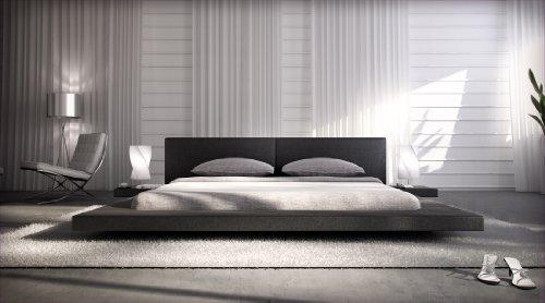 Polster-Bett 200 x 200 cm schwarz aus Kunstleder mit integrierten Nachtkonsolen   Lraep   Das Kunst-Leder-Bett ist ein edles Designer-Bett Doppel-Bett 200 cm x 200 cm mit extrem niedriger Betthöhe