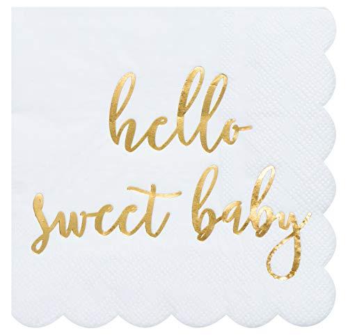 Servilletas de cóctel – Paquete de 50 servilletas de papel desechables con bordes festoneados, lámina de oro, diseño de Hello Sweet, 12,7 x 12,7 cm