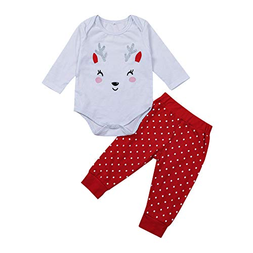 Marxways_ Newborn Infant Baby Navidad Print Body Body + Wave Point Pants Set Conjunto Conjunto de bodysuit Navidad Basic Shirt Túnica Navidad Bebé Niñas Ropa Blanco 3 3-6 Talla única
