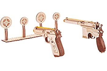 Wood Trick Wooden Toy Guns Set with Targets Shooting Range Pistol Toy Guns for Kids Set - 3D Wooden Puzzle for Adults and Teens