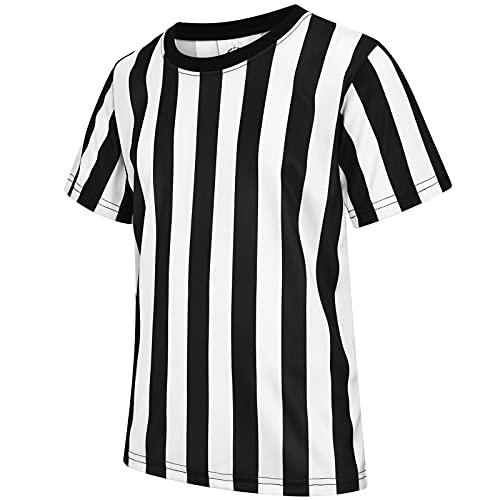 ChinFun - Camiseta de árbitro para niños, diseño de rayas blancas y negras para baloncesto, fútbol, voleibol, cuello redondo M