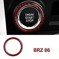 車のインテリアカーボンファイバーカーエンジンスタートストップイグニッションキーリングステッカー、スバルBRZトヨタ86 2013-2020オートアクセサリー (Ring Red)