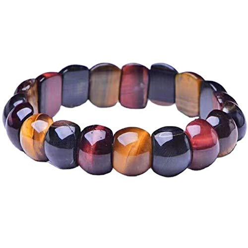 AMAZOM Tigers Eye Golden Bracelet 11Mm Courage Stone Real Square Gemstone Stretch Handmade Men Women Brown Earthy Fashion