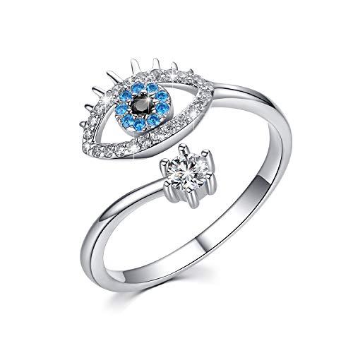 Eye Ring Sterling Silver Eye Jewelry Rose Gold Open Rings Lucky Evil Eye Adjustable Blue CZ Evil Gift Jewelry for Women,Girlfriend (Silver)
