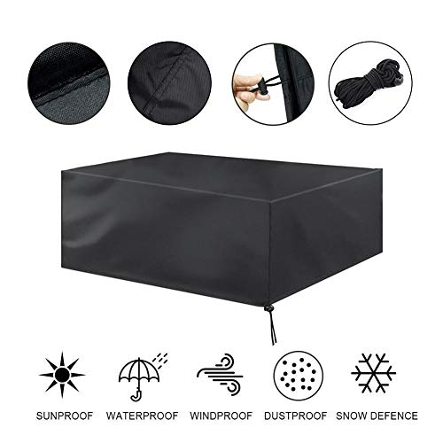 Seasons Shop - Funda protectora antipolvo para muebles de jardín (ratán, resistente al agua), Negro , 135 * 135 * 74cm (53 '' * 53 '' * 29 '')