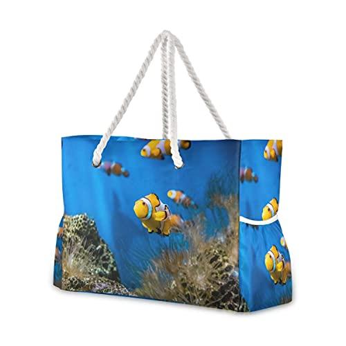 Bolsas de playa grandes Totes de lona Bolsa de hombro Nemo Fish...