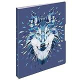 Herlitz 50027262 - Cuaderno con tapa intercambiable (A4, 2 x 40 hojas), diseño de lobo salvaje, color zorro Ringbuch